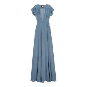 [Reformation] short sleeve wrap maxi dress